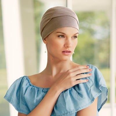 Šatka na hlavu pre onkologických pacientov Turban Zoya kaki - taktrochainak.sk
