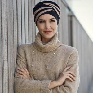 Lačná šatka, turbany na hlavu pre onkologických pacientov Shanti hnedočierny - taktrochainak.sk