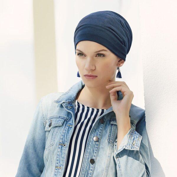 Šatky a turbany na hlavu Christine Headwear Clara blue - taktrochainak.sk