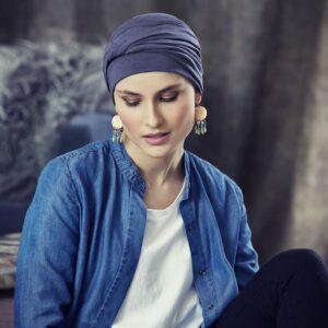 Šatky a turbany na hlavu Christine Headwear Edith blue - taktrochainak.sk