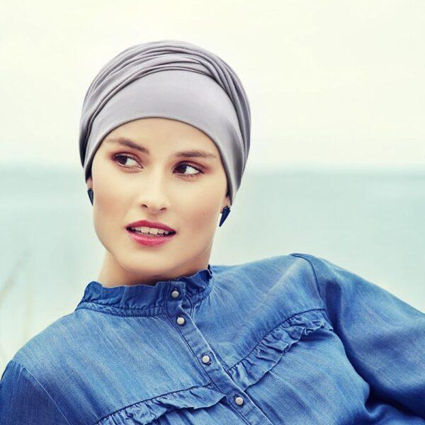 Vkusný, štýlový urban, šatka na hlavu pre onkologických pacientov lavander Zoya - taktrochainak.sk
