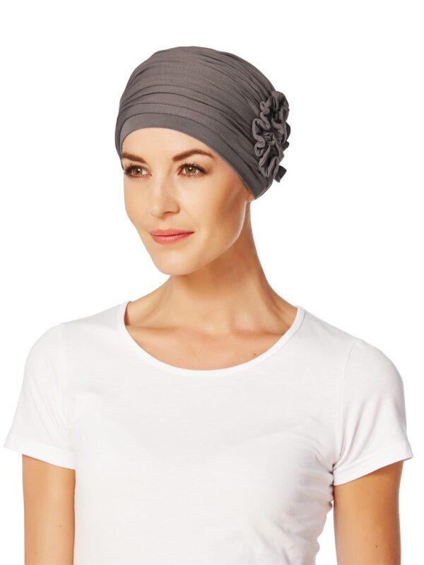 Štýlový pohodlnný turban, šatka na hlavu po chemoterapii pre onkologických pacientov lotus šedý- taktrochainak.sk