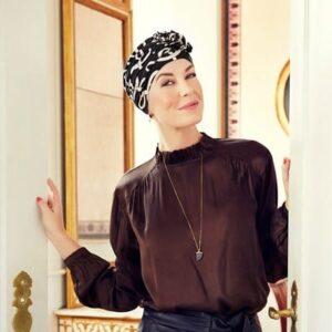 Turban na hlavu po chemoterapii Lotus čierny so vzorom - taktrochainak.sk