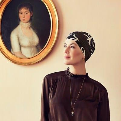 Turban na hlavu po chemoterapii Shakti čierny so vzorom - taktrochainak.sk