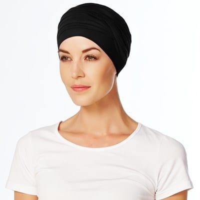 Čierny turban čiapka po chemopoterapii na hlavu pre ženy - taktrochainak.sk