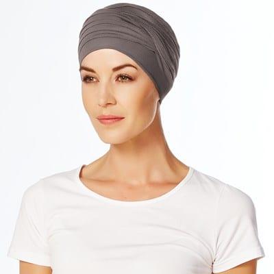 Čierny turban čiapka po chemopoterapii na hlavu pre ženy hnedo šedý- taktrochainak.sk