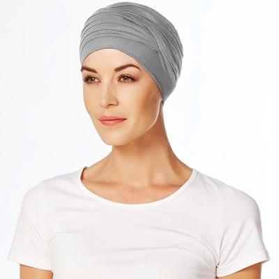 Štýlový pohodlnný turban, šatka na hlavu po chemoterapii pre onkologických pacientov šedý - taktrochainak.sk