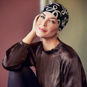 Turban na hlavu po chemoterapii Yoga čierny so vzorom - taktrochainak.sk