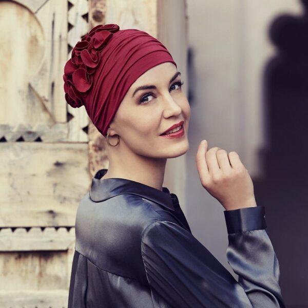 Šatka turban na hlavu po chemoterapii červený Nadi