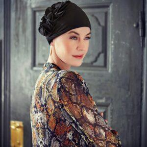 Šatka turban na hlavu po chemoterapii čierny Nadi