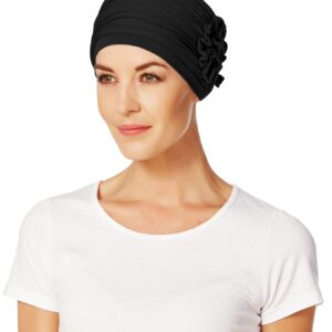 Turban, čiapka po chemoterapii, vzor Lotus čierny - taktrochainak.sk